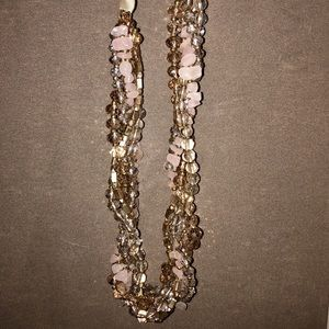 Long Bow-Tie Gold/Tan/Pink Beaded Necklace